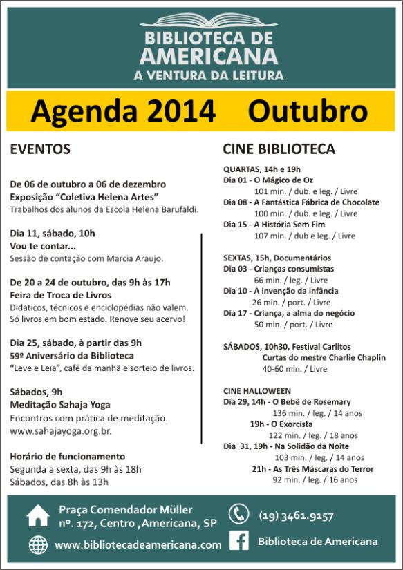 Cartaz Agenda Outubro 2014